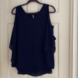 New navy sleeveless blouse